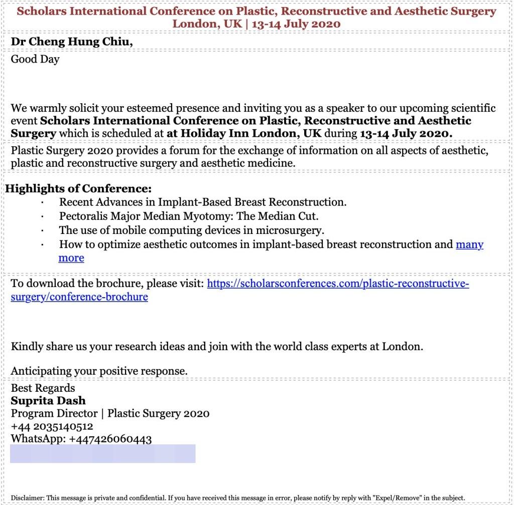 英國整形外科國際會議邀請邱醫師演講函