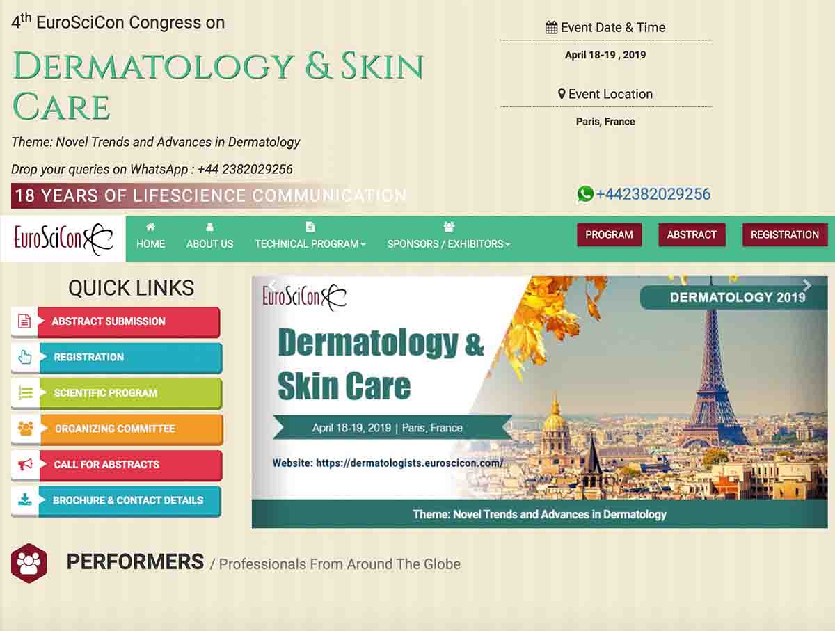 法國2019皮膚科學國際會議邀請邱醫師擔任委員
