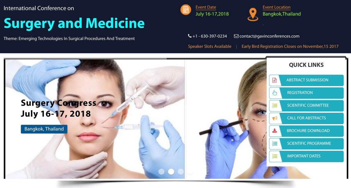 2018年7月16-17日在泰國曼谷舉行的「國際內科學和外科學會議」