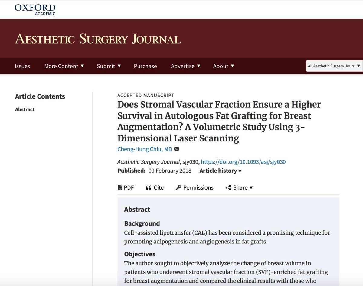 2018年我的論文題為「血管間質成分對於自體脂肪隆乳的存活率有幫助嗎?3D雷射掃描的體積研究」已經刊登在知名的「美容外科學期刊」