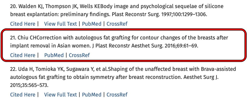 邱正宏醫師於2016年發表「乳房假體取出後的自體脂肪隆乳」論文