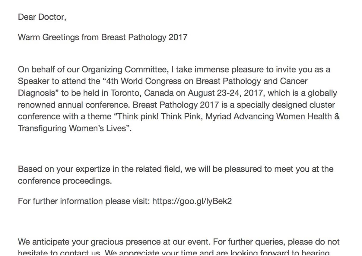 「2017年乳房病理學」邀請函原文