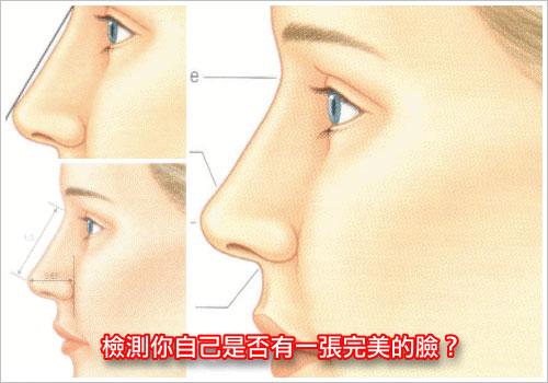 隆鼻,側面鼻子和臉部和諧對稱